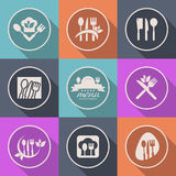 Segno di logo del menu dell'icona della cucina di vettore Immagine Stock Libera da Diritti