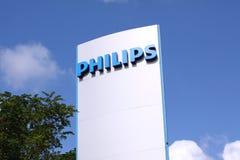 Segno di logo della società di Philips sul bordo del segno Immagine Stock