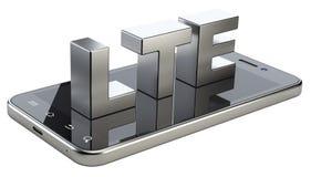 Segno di LTE sullo schermo dello Smart Phone Tecnologia mobile ad alta velocità di web Fotografie Stock