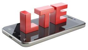 Segno di LTE sullo schermo dello Smart Phone Tecnologia mobile ad alta velocità di web Fotografia Stock Libera da Diritti
