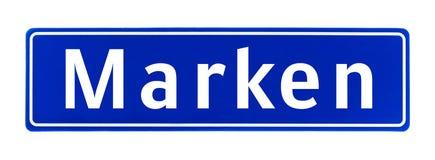 Segno di Marken, Paesi Bassi di limite di città immagini stock