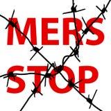 Segno di Mers Corona Virus di arresto del filo spinato del fondo Illu di vettore Immagine Stock Libera da Diritti