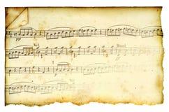 Segno di musica macchiato oggetto d'antiquariato Fotografia Stock Libera da Diritti