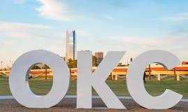 Segno di Oklahoma City OKC Fotografie Stock