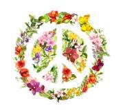 Segno di pace con i fiori watercolor illustrazione vettoriale