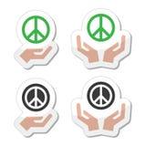 Segno di pace con le icone delle mani messe Immagine Stock Libera da Diritti