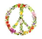 Segno di pace d'annata con i fiori watercolor illustrazione vettoriale