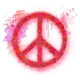 Segno di pace dell'acquerello Fotografie Stock