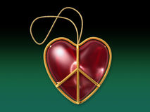 Segno di pace di amore come ornamento di natale con il percorso di residuo della potatura meccanica immagine stock