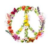 Segno di pace - fiori e piume nello stile di boho watercolor illustrazione vettoriale