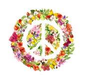 Segno di pace floreale con i fiori, farfalle watercolor illustrazione di stock