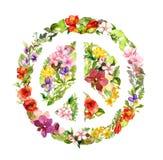 Segno di pace floreale con i fiori watercolor illustrazione vettoriale