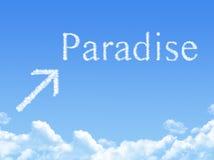 Segno di paradiso sulla nuvola a forma di Fotografie Stock