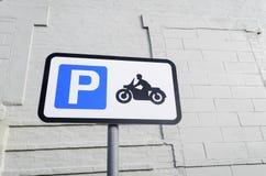 Segno di parcheggio della motocicletta Immagini Stock