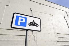 Segno di parcheggio della motocicletta Fotografie Stock Libere da Diritti