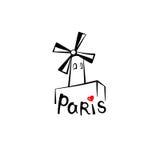 Segno di Parigi Punto di riferimento famoso Moulin Rouge del francese Etichetta della Francia di viaggio Fotografia Stock Libera da Diritti