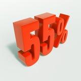 Segno di percentuale, 55 per cento Fotografia Stock Libera da Diritti