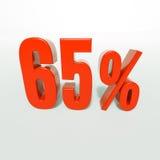 Segno di percentuale, 65 per cento Fotografia Stock