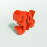 Segno di percentuale, 3 per cento Fotografia Stock
