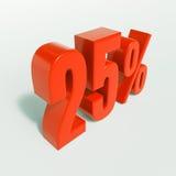 Segno di percentuale, 25 per cento Fotografie Stock Libere da Diritti