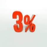 Segno di percentuale, 3 per cento Fotografia Stock Libera da Diritti