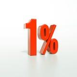 Segno di percentuale, 1 per cento Fotografie Stock Libere da Diritti