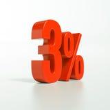 Segno di percentuale, 3 per cento Fotografie Stock
