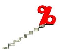 Segno di percentuale sopra le scale dei soldi, rappresentazione 3D Immagine Stock