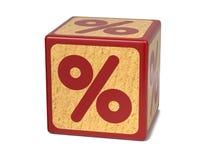 Segno di percentuali - blocchetto dell'alfabeto dei bambini. Fotografia Stock