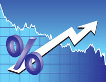 Segno di percentuali con la freccia Immagini Stock Libere da Diritti
