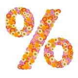 Segno di percentuali del fiore L'elemento floreale dell'alfabeto variopinto ha fatto il franco Fotografia Stock
