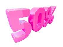 Segno di percentuali rosa isolato Fotografia Stock Libera da Diritti