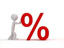 segno di percentuali rosso di piccola spinta dell'uomo 3d illustrazione di stock
