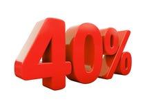 Segno di percentuali rosso isolato Immagine Stock