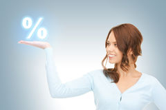 Segno di percentuali sulle palme Immagine Stock