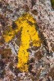 Segno di pietra giallo della freccia. Fotografia Stock