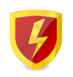Segno di potenza sul colore dell'oro dell'emblema Fotografia Stock Libera da Diritti