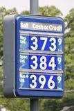 Segno di prezzi della benzina Fotografia Stock