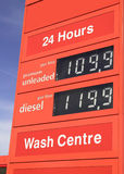 Segno di prezzi di combustibile della stazione di servizio fotografia stock libera da diritti