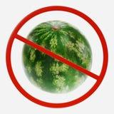 Segno di proibizione con il melone immagine stock