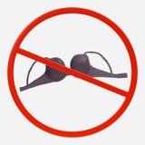 Segno di proibizione con il reggiseno Fotografie Stock Libere da Diritti