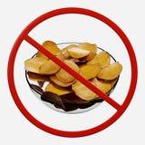Segno di proibizione con le patatine fritte Immagine Stock Libera da Diritti