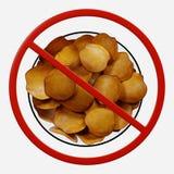 Segno di proibizione con le patatine fritte fotografia stock