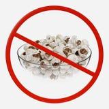 Segno di proibizione con popcorn fotografie stock