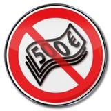 Segno di proibizione per 500 euro banconote illustrazione di stock