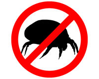 Segno di proibizione per gli acari della polvere della casa Immagine Stock