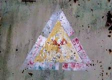 Segno di radiazione su un wehicle di decomposizione nella zona di Cernobyl Fotografia Stock
