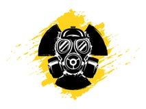 Segno di radioattività con l'illustrazione di vettore di lerciume della maschera antigas Concetto di inquinamento e del pericolo  royalty illustrazione gratis