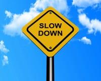 Segno di rallentamento Fotografie Stock