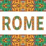 Segno di Roma con l'ornamento etnico tribale decorativo illustrazione di stock